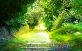 Картинка зелень, деревья, пейзаж, дорожка, аллея, miyukin, okura miyuki