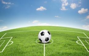 Обои небо, абстракция, безмятежность, футбол, мяч, арт, центр, stadium, стадион, football, футбольное поле, wallpaper., soccer field, ...