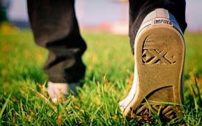 Картинка осень, трава, кеды