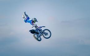 Картинка небо, облака, маневр, всадник, мотокросс, фристайл, FMX, экстремальный спорт, Can Can No Footed