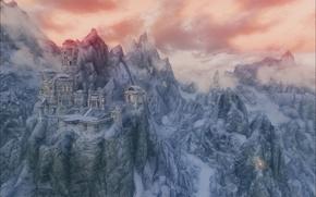 Картинка снег, горы, руины, Skyrim, The Elder Scrolls V Skyrim, Скайрим, Древние Свитки