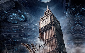Картинка wallpaper, gun, tower, war, england, United Kingdom, clock, UFO, debris, technology, destruction, mothership, high tech, ...