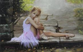 Картинка грусть, девушка, девочка, балерина, Настроение, пуанты, юная