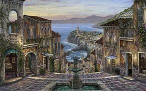 Картинка море, побережье, дома, вечер, Италия, картины, фонтан, живопись, Robert Finale, Вернацца, Summer in Vernazza, плетущиеся …