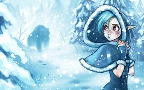 Картинка зима, лес, девушка, снег, деревья, ветер, эльф, медведь, капюшон, вьюга