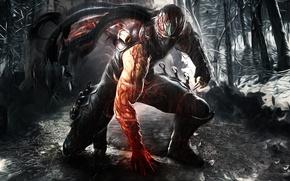 Картинка оружие, дождь, кровь, доспехи, маска, парень, ниндзя, Ninja Gaiden