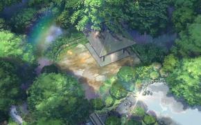 Картинка крыша, деревья, пруд, парк, камни, дождь, забор, радуга, беседка, Kotonoha no Niwa, Сад изящных слов, …