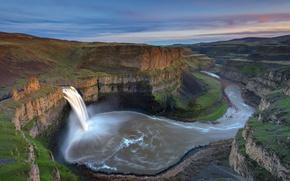 Картинка природа, скала, река, водопад