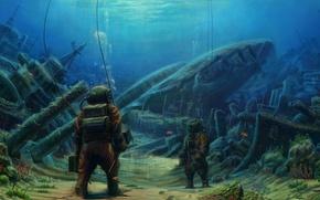Картинка море, водолаз, корабли, дно, глубина