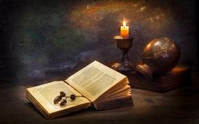 Картинка свеча, книга, кувшин