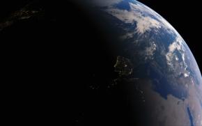 Картинка огни, планета, Земля, Испания, Средиземное море