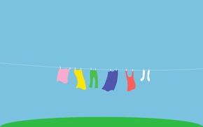 Обои радуга, веревка, сушка, брюки, стирка, двор, майка, цвет, белье, носки, трава
