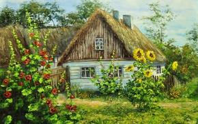 Картинка зелень, лето, цветы, дом, село, деревня
