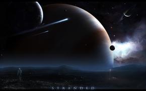 Картинка планеты, космонавт, 152, астероид