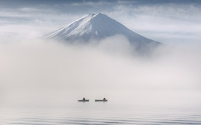 Картинка Japan, boats, fishermen, Yamanashi