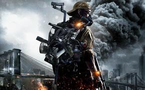 Обои Дым, Tom Clancys The Division, Небо, Оружие, Туман, Свет, Облака, Апокалипсис, Ubisoft Entertainment, Город, Экипировка, ...