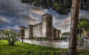 Картинка замок, дерево, стены, обработка, фонари, Италия, Сицилия, Sicilia, Castello Ursino