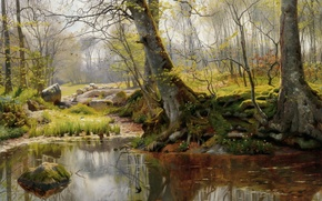 Картинка лес, деревья, пейзаж, корни, озеро, отражение, камни, мох, картина, Peder Mork Monsted