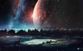Картинка лес, ночь, озеро, планеты, олени, desktopography, dreamworld, звездопад