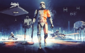 Картинка игры, Electronic Arts, AT-AT, DICE, Scout Trooper, Штурмовик, Stormtrooper, TIE-Fighter, AT-ST, star wars battlefront, T-4a, ...