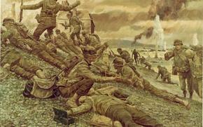 Картинка оружие, рисунок, Франция, арт, солдаты, экипировка, Нормандия, WW2, высадка союзнических войск, 6 июня 1944 года