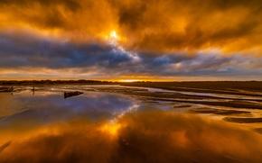 Картинка небо, облака, краски, берег, вечер, отлив, зарево