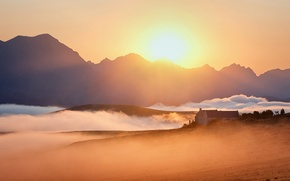Картинка поле, пейзаж, закат, туман