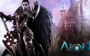 Картинка девушка, ангел, меч, MMORPG, Aoin