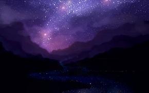 Обои ночь, звездное небо, арт