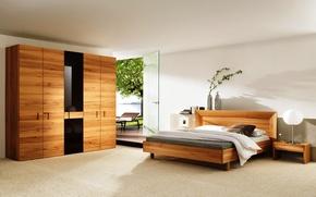 Картинка дизайн, комната, мебель, кровать, интерьер
