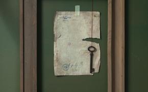 Картинка лист, рамка, ключ