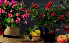 Картинка лимон, яблоки, шляпа, Розы, натюрморт, калина