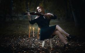 Картинка девушка, скрипка, свечи