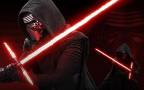 Обои light, power, mask, Star Wars 7, the son of Darth Vader, red lightsaber, Sith lightsaber, ...