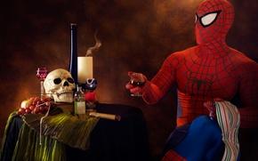Картинка череп, юмор, сигара, выпивка, человек паук