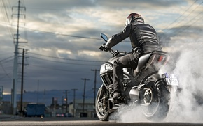Картинка Ducati, Carbon, smoke, muscle, power, cruiser, Diavel, burn, musclebike