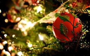 Картинка свет, красный, узор, игрушки, елка, шар, ветка, шарик, Новый Год, Рождество, гирлянда, Christmas, праздники, New …