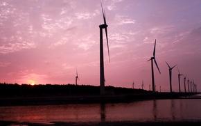 Картинка небо, вода, солнце, облака, закат, розовый, вечер, Ветряки