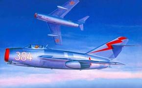 Картинка самолет, истребитель, арт, боевой, ВВС, реактивный, мира, стран, ОКБ, советский, МиГ-15, вооружении, разработанный, СССР., Микояна, ...