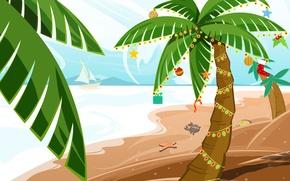 Картинка украшения, пальмы, новый год