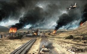 Картинка самолет, пожар, война, завод, пустыня, Battlefield 3, Operation Firestorm