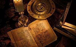Картинка надпись, книги, свеча, компас, знаки зодиака, гарри поттер