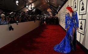 Картинка девушка, красный, стиль, музыка, женщина, волосы, макияж, music, платье, актриса, певица, red, girl, вечеринка, fashion, …