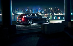 Картинка Cadillac, City, CTS, Car, Black, Tuning, Vossen, Wheels, Rear, CV7