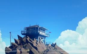 Картинка Небо, Облака, Гора, Лестница, Камни, Флаг, Труба, Голубое, Пожарный, Вышка, Антенна, Exploration, Adventure Game, Вышка …