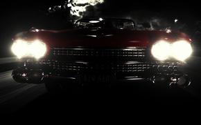 Обои свет, ночь, Eldorado, фары, Cadillac, тьма