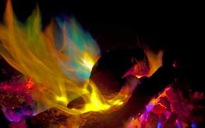 Картинка ночь, огонь, пламя, костер, угли