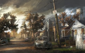 Картинка деревья, машины, город, дома, пустош