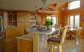 Картинка design, style, wooden, interior, kitchen, dining room