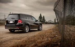 Картинка джип, Mercedes-Benz, black, черный, Мерседес, GL550, ограда